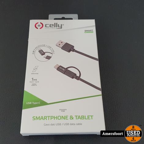 Celly 2 in 1 Laadkabel | USB-C | Micro USB | 1 Meter | Zwart