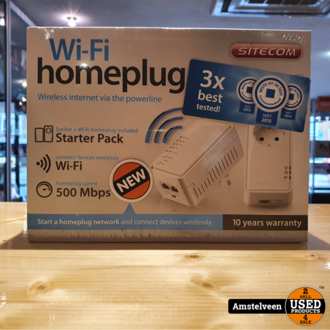 Sitecom LN-555 Wi-Fi Homeplug 500Mbps Dual Pack (NL/EU-stekker) | Nieuw