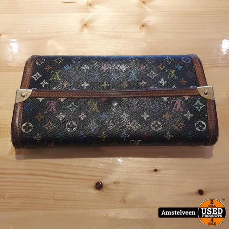 Louis Vuitton Sarah Black Multi Color Mono Tri-Fold Long Wallet 2003
