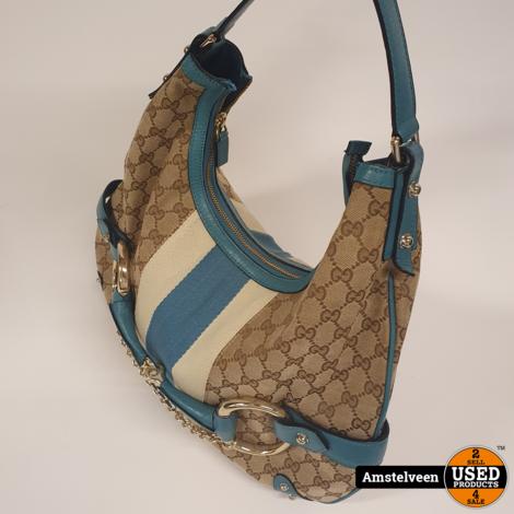 Gucci Double Horse Bit Hobo Vintage Beige/Blue