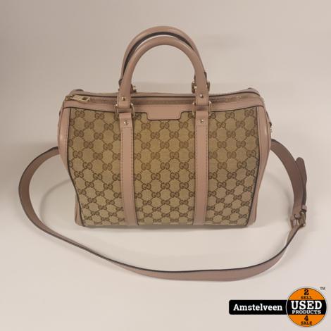 GUCCI Vintage GG Boston Bag Beige/Pink 247205