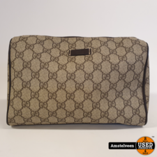 GUCCI GG Plus Monogram Large Toiletry Case Brown 91317