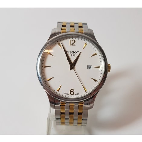 Tissot 1853 Tradition Silver Gold Tone Stainless Steel Swiss T063610A | Excl. Doos