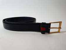 Gucci Leather belt with Web 85/34 | Nette Staat