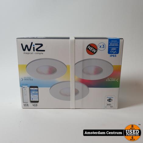 WiZ colors inbouwspots GLYPH - 3 stuks - IP65 - met afstandsbediening WiZmote - staal   Nieuw