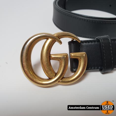Gucci 414516 leren riem met dubbele G-gesp 110/44 | Nette Staat
