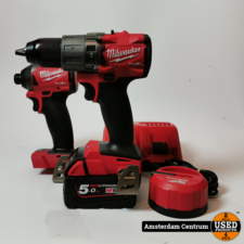 Milwaukee M18 FPD2-0X + M18 FID2 incl. 1x accu (5.0) en lader   In nette staat