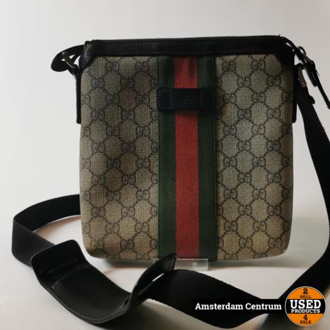 Gucci Web GG Supreme Flat Messenger Bag   Incl. garantie