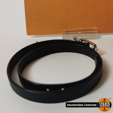 Louis Vuitton Bracelet Black Leather Men's Neogram M6257E Maat 19   Nette staat + Bon