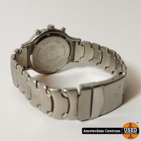 Bulova Herenhorloge Zilver/Blauw | In leren hoes