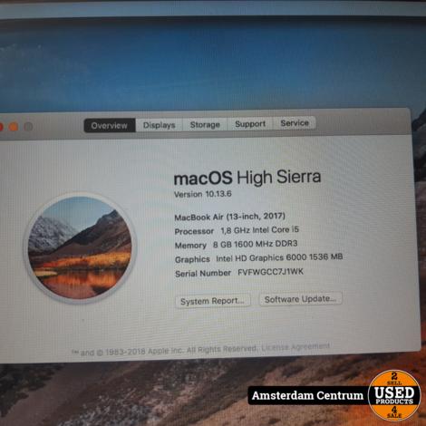 Macbook Air 2017 13-Inch i5 8GB 128GB SSD   Nette staat