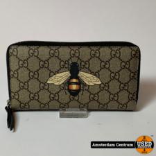 Gucci GG Bee Print Canvas Zip Around Portemonnee | Nette staat