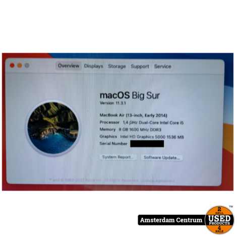 Macbook Air 2014 13-Inch i5 8GB 128GB | Incl. garantie