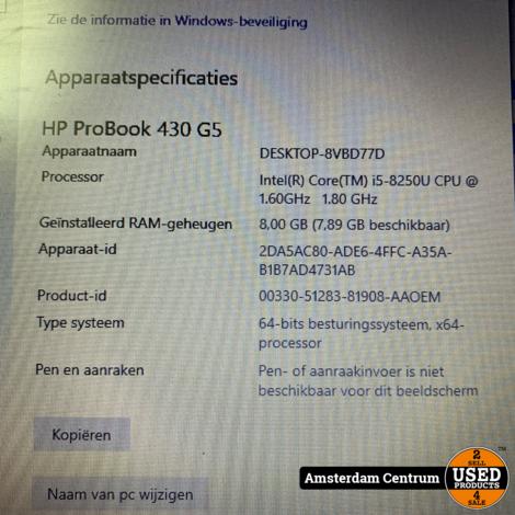 HP Probook 430 G5 i5-8250U 8GB 128GB   Incl. lader en garantie