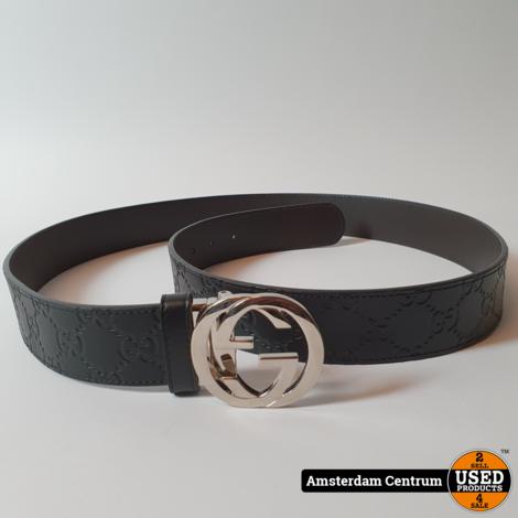 Gucci 473030 Signature Interlocking G Belt Black Leather Riem | Nette staat