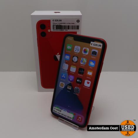 iPhone 11 64GB RED | in Zeer Nette Staat met Bon