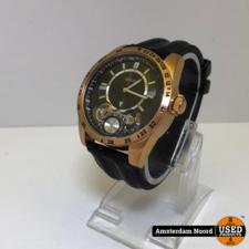 Guess GUESS Men's U18511G1 Complex Statement Black & Rose Gold-Tone Silicone Sport Watch