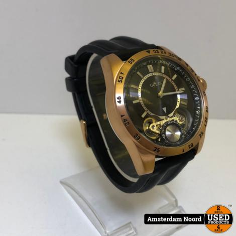 GUESS Men's U18511G1 Complex Statement Black & Rose Gold-Tone Silicone Sport Watch