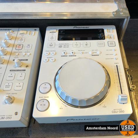 Pioneer DJM 350 Wit + Pioneer CDJ 350 (2 Stuks) + Flightcase