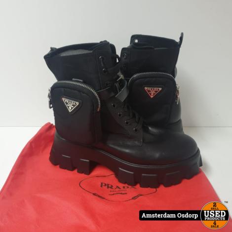 Prada Monolith Leather Ankle boots Women Maat 39 | ZGAN