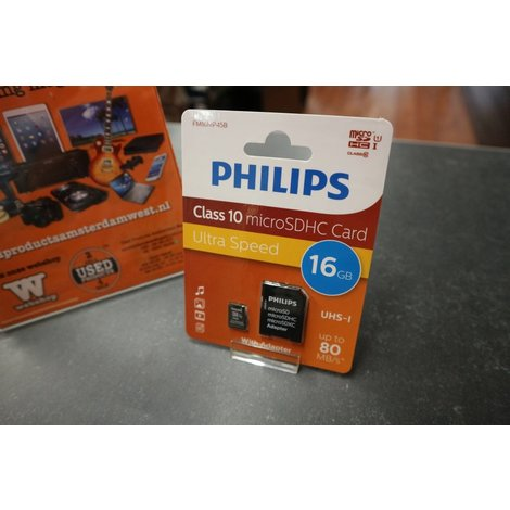 Philips FM16MP45B 16GB Micro SD Kaart Class 10 | Nieuw