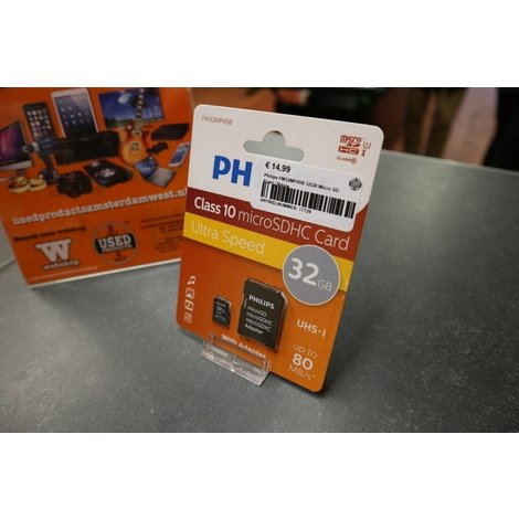 Philips FM32MP45B 32GB Micro SD Kaart Class 10   NIEUW