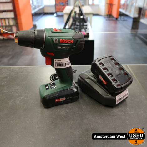 Bosch PSR 1800 Li-2 Boormachine 2x 1.5Ah Accu