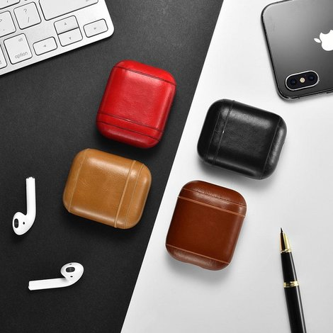 Airpods Case Vintage Leather Black | Nieuw