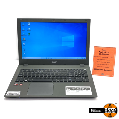 Acer Aspire E5-522-851P AMD A8 7410 2.2 GHz 8GB RAM 1TB HDD   Nette Staat