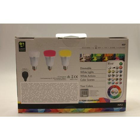 iDual 2 x E27 LED lampen 806 lumen RGB || nieuw in doos