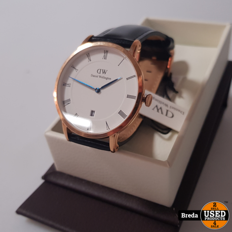 Daniel Wellington Horloge Zwart Leer | Nieuw | met Garantie