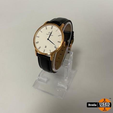 Daniel Wellington Horloge Zwart Leer   Nieuw   met Garantie