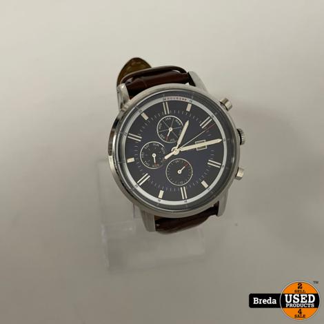 Tommy Hilfiger Horloge Blauwe Plaat/ Bruine Band/ Chrome kast   Nette staat