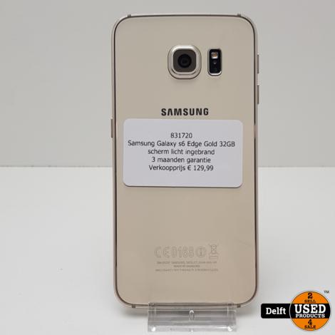 Samsung Galaxy s6 Edge Gold 32GB//scherm licht ingebrand//3 maanden garantie