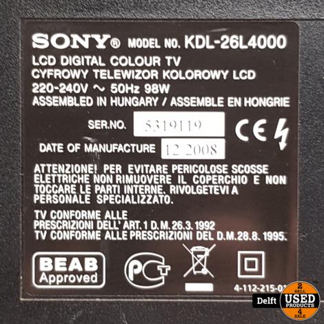 sony KDL-26l4000//2x HDMI//zonder AB//1 maand garantie