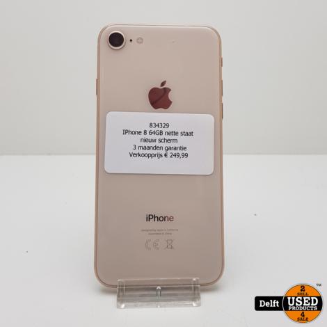 IPhone 8 64GB Gold nette staat nieuw scherm 3 maanden garantie