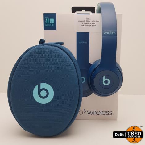 beats solo 3 wireless blue nette staat 1 maand garantie