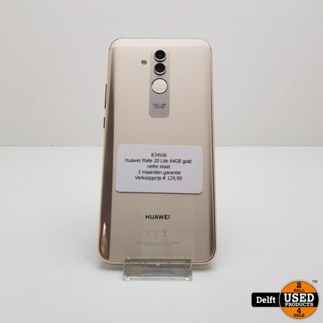 Huawei Mate 20 Lite 64GB gold nette staat 3 maanden garantie