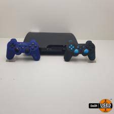 Sony Playstation 3 SLIM 150GB Inclusief kabels en 2 stuks third party controllers 1 maand garantie