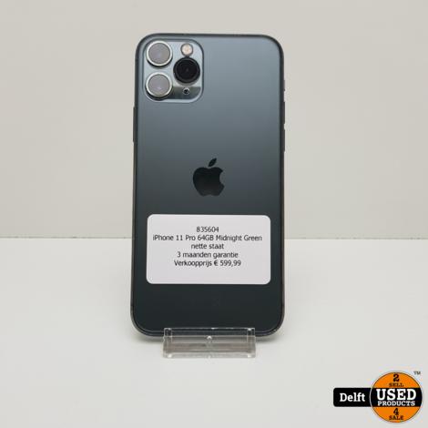 iPhone 11 Pro 64GB Midnight Green nette staat 3 maanden garantie