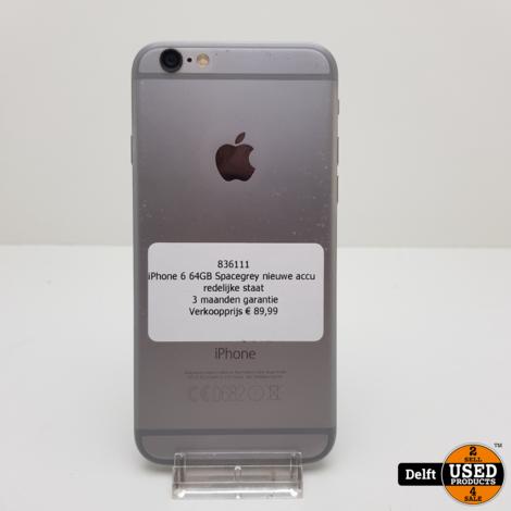 iPhone 6 64GB Spacegrey nieuwe accu redelijke staat 3 maanden garantie