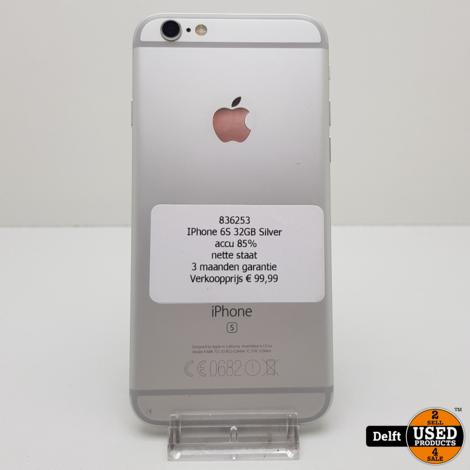 IPhone 6S 32GB Silver accu 86% nette staat 3 maanden garantie