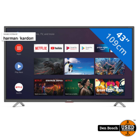 Sharp 43BL5 40 inch 4K Aindroid Smart TV met 2 Jaar Garantie