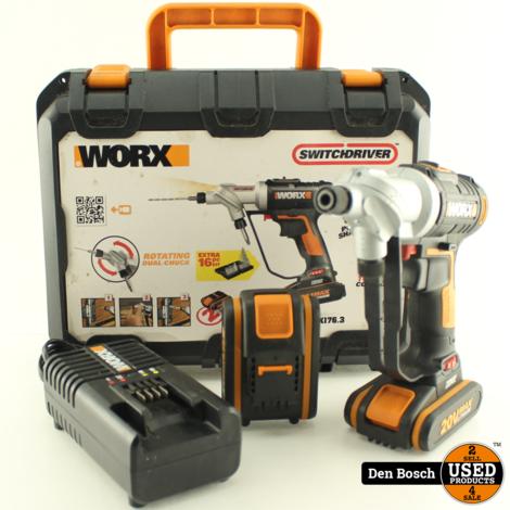 Worx WX176.3 Boormachine Set met 2 Accu's en Koffer