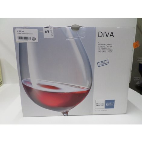 Diva 6x Red wine glass/water