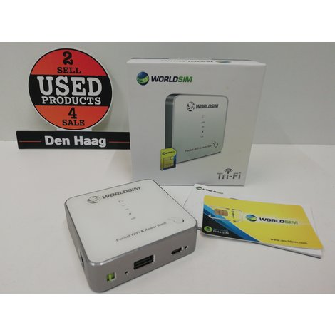 WorldSim 3 in 1 Tri-Fi Powerbank WiFi Hotspot 3G Router & Storage