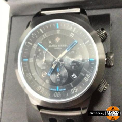 Alpha Sierra - Defcon - LGM30BL - Herenhorloge - Leer - 46mm - Zwart / Blauw - Limited Edition