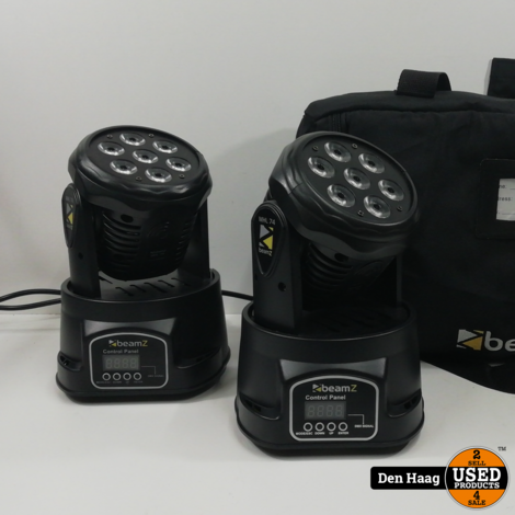 BeamZ MHL-74 mini wash moving head set van 2 inclusief draagtas