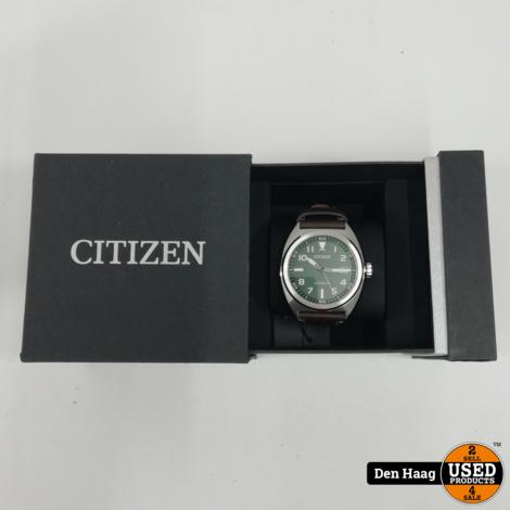 Citizen NJ0100-38X horloge | Automatisch herenhorloge met bruine leren band *Nieuw*