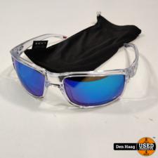 Oakley Sylas Polished Clear Sunglasses w/Prizm Sapphire